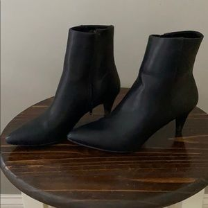 Christian Siriano Pointed Toe Black Leather Boots
